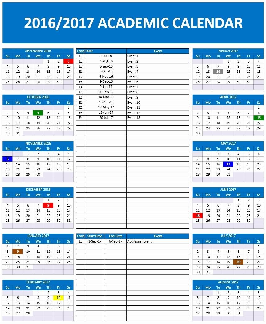 Microsoft Office 2017 Calendar Template Fresh 2016 2017 School Calendar Templates