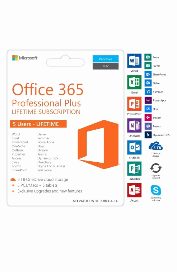 Microsoft Office 365 Subscription Login Luxury Microsoft Fice 365 Professional Plus – 5 User Pc & Mac