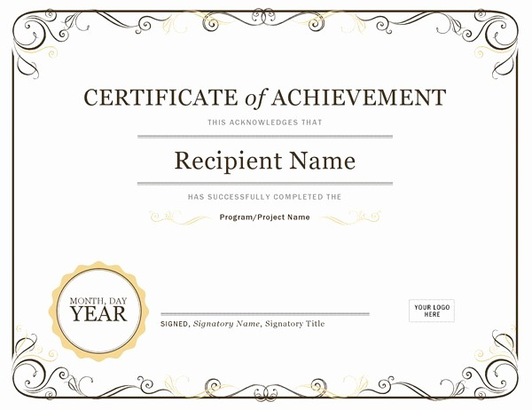 Microsoft Office Award Certificate Template Elegant Certificate Of Achievement
