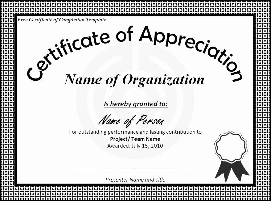Microsoft Office Award Certificate Template Unique Free Certificate Of Pletion Template Word Excel formats