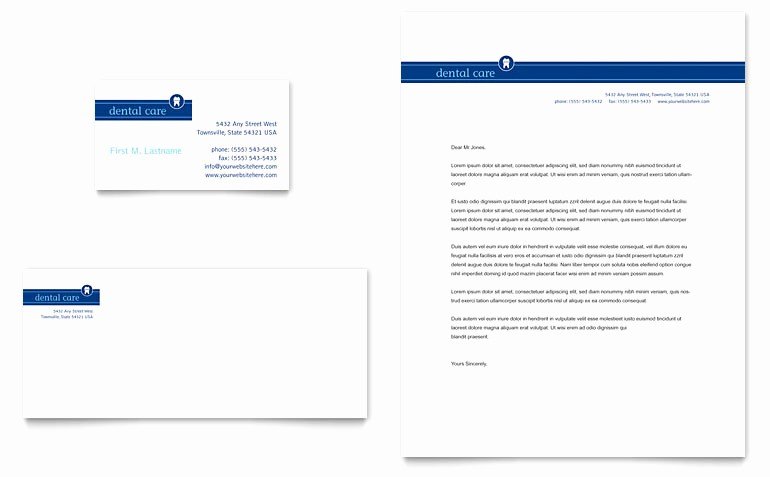 Microsoft Office Business Card Templates Beautiful Dentist Fice Business Card & Letterhead Template Word