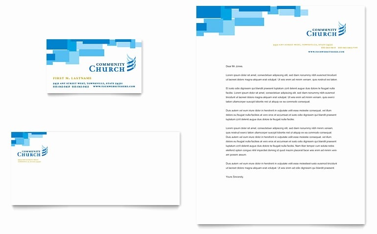 munity Church Business Card Letterhead Templates RO D