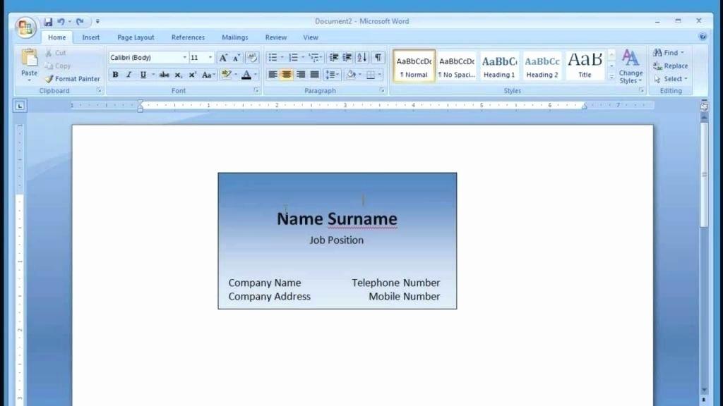 Microsoft Office Business Card Templates Fresh Word 2010 Business Card Template – Spitznasfo