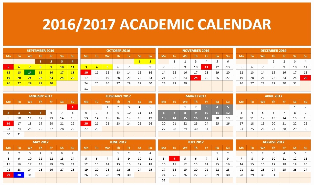 Microsoft Office Calendar Template 2017 Elegant 2016 2017 School Calendar Templates