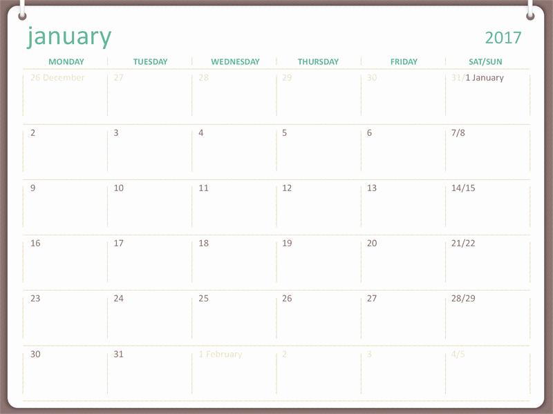microsoft calendar templates 2017