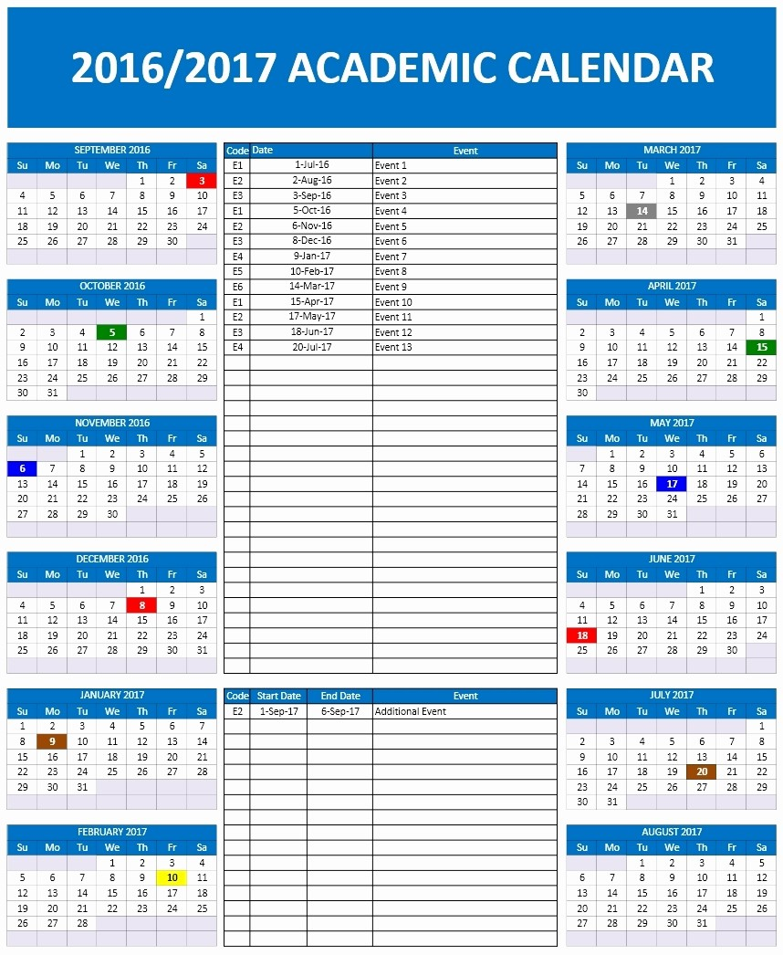 Microsoft Office Calendar Template 2017 Inspirational 2016 2017 School Calendar Templates
