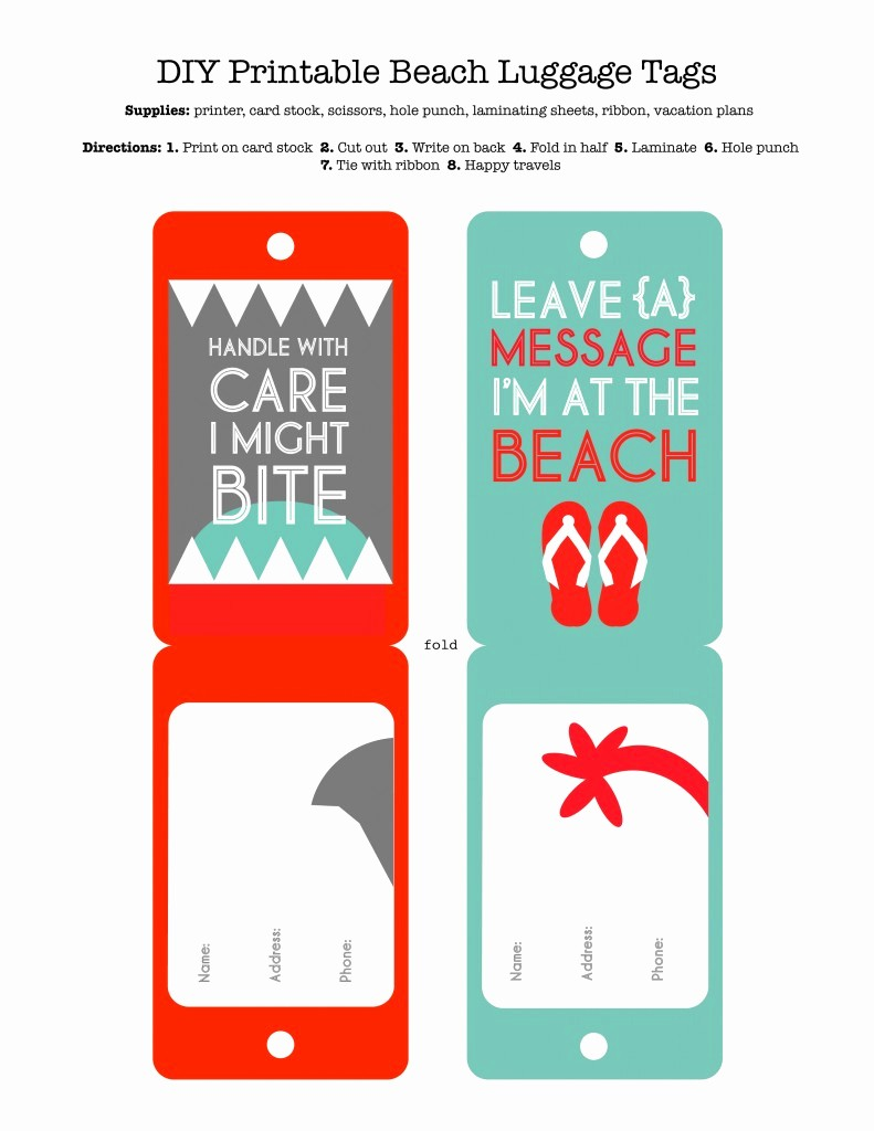 Microsoft Office Gift Tag Template Unique Diy Printable Beach Luggage Tags