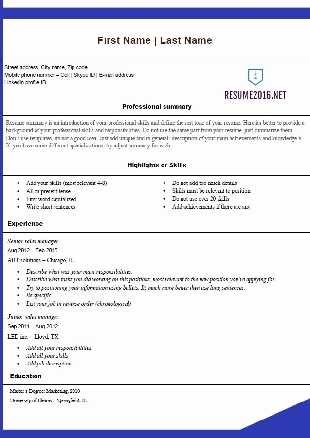 Microsoft Office Online Resume Template Unique Free Resume Templates 2016 Microsoft Fice Blue Template