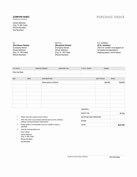 Microsoft Office Purchase order Templates Elegant Invoices Fice