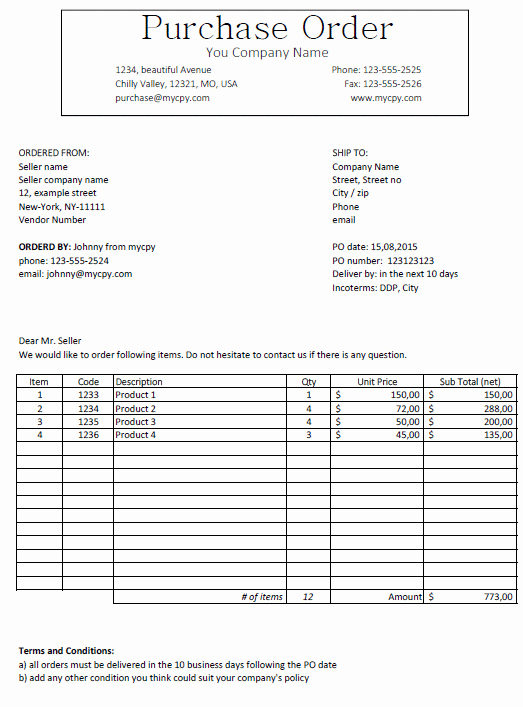 Microsoft Office Purchase order Templates Unique Excel Template Free Purchase order Template for