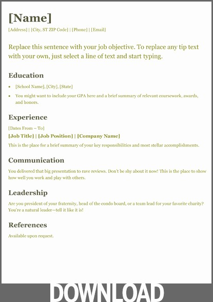Microsoft Office Resume Templates Downloads Inspirational Microsoft Fice Resume Templates
