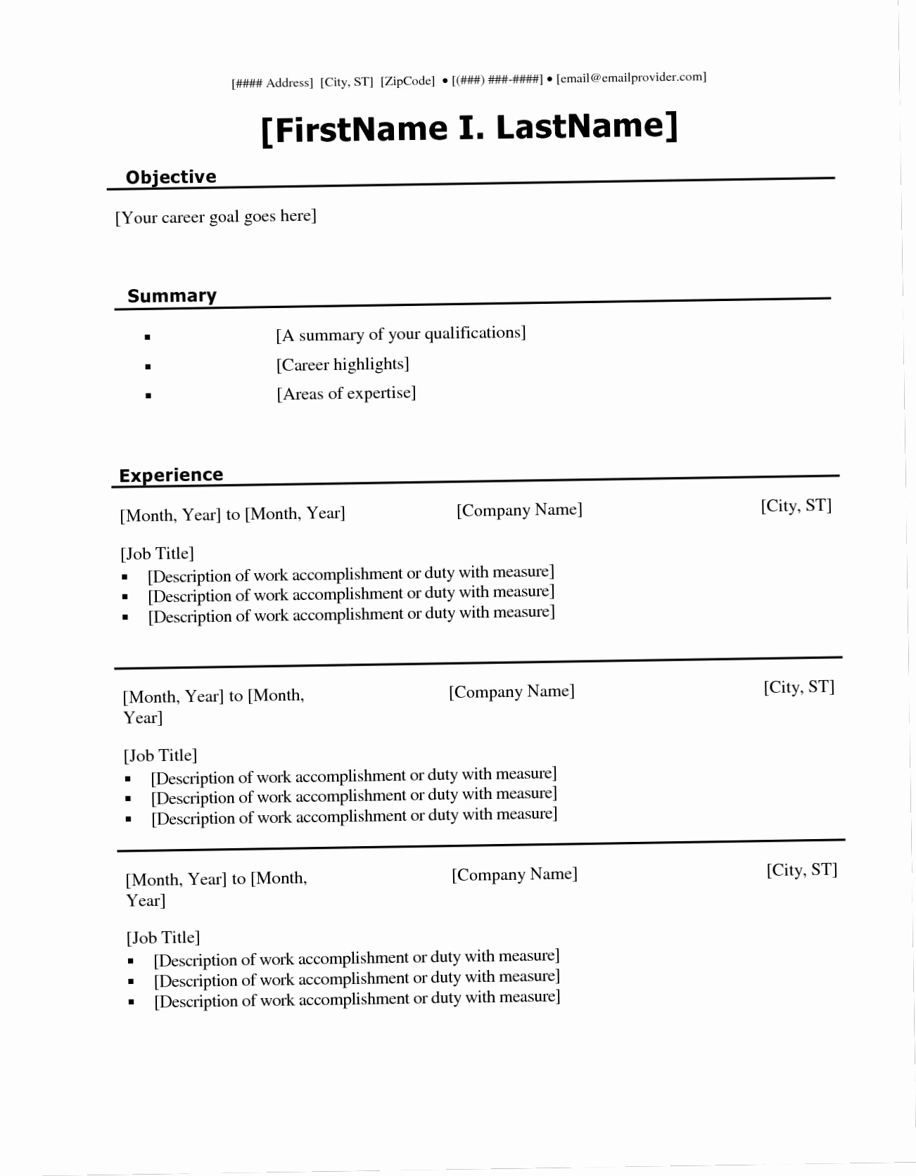 Microsoft Office Resume Templates Downloads Unique Fill In the Blank Resume Templates for Microsoft Word Free