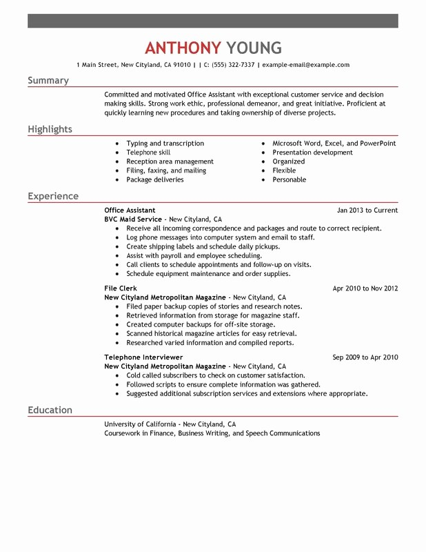 Microsoft Office Skills Resume Template Beautiful Fice assistant Resume Examples – Free to Try today