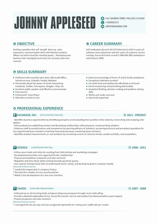 Microsoft Office Skills Resume Template Fresh Resume Template Johnny Appleseed Modern Resume Template