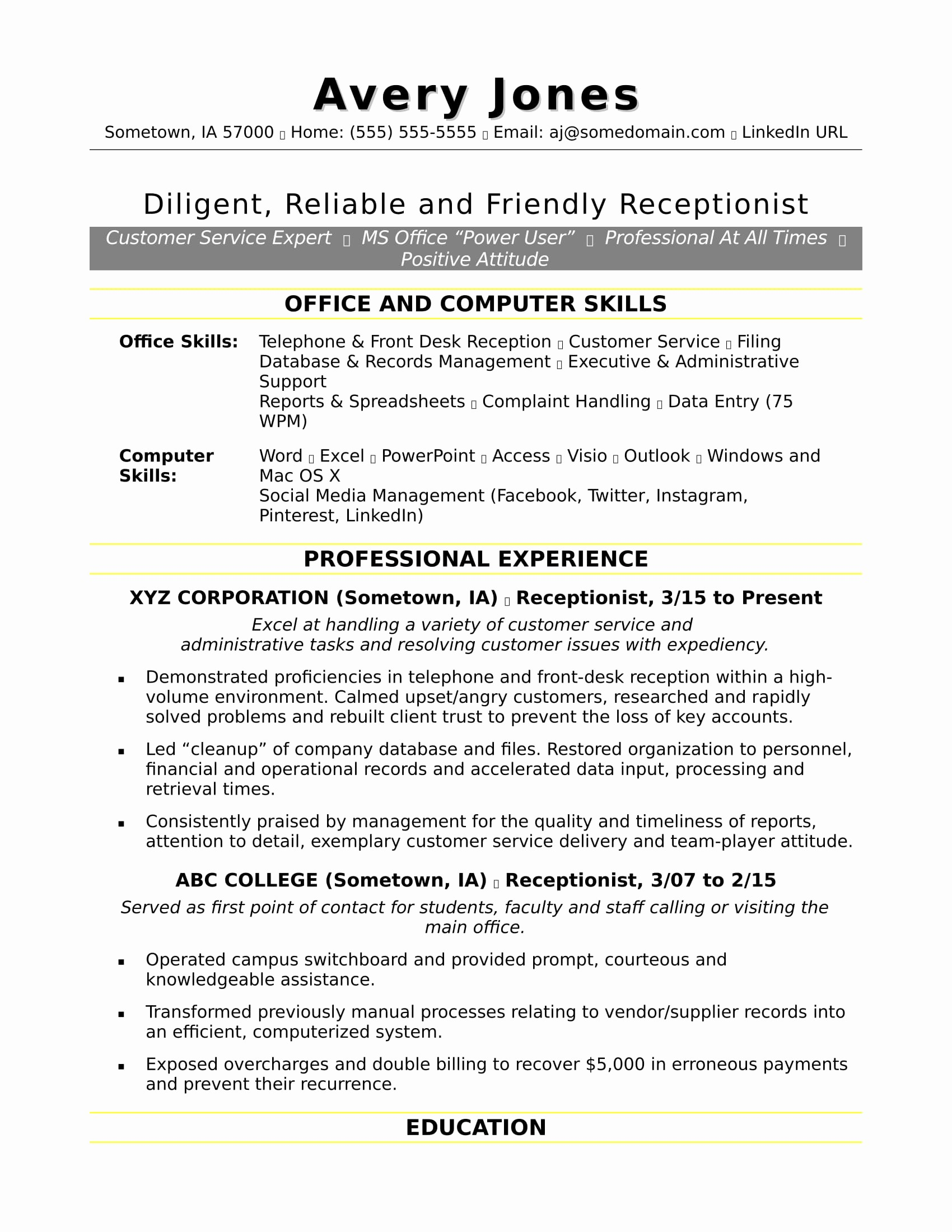 Microsoft Office Skills Resume Template New Receptionist Resume Sample