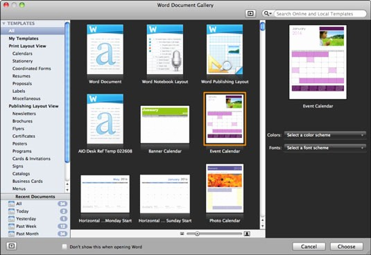 Microsoft Office Templates for Mac New Fice 2011 for Mac Open the Word Document Gallery Dummies