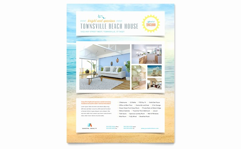 Microsoft Office Word Flyer Templates Awesome Beach House Flyer Template Word & Publisher