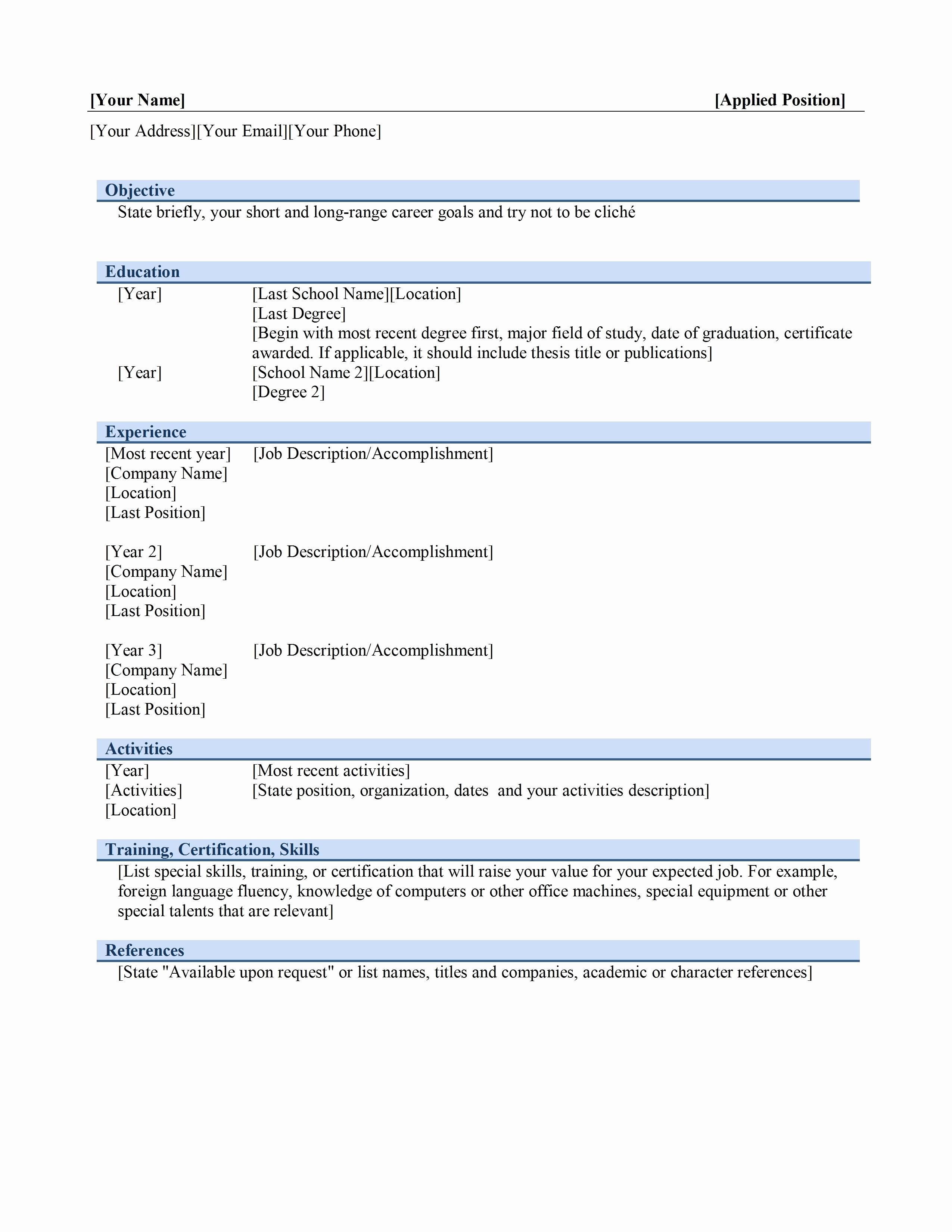 Microsoft Office Word Resume Templates Unique Resume Templates Microsoft Fice Word 2003 Bongdaao