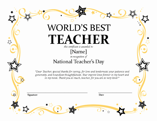 Microsoft Publisher Award Certificate Templates Inspirational National Teacher's Day Certificate – Microsoft Publisher