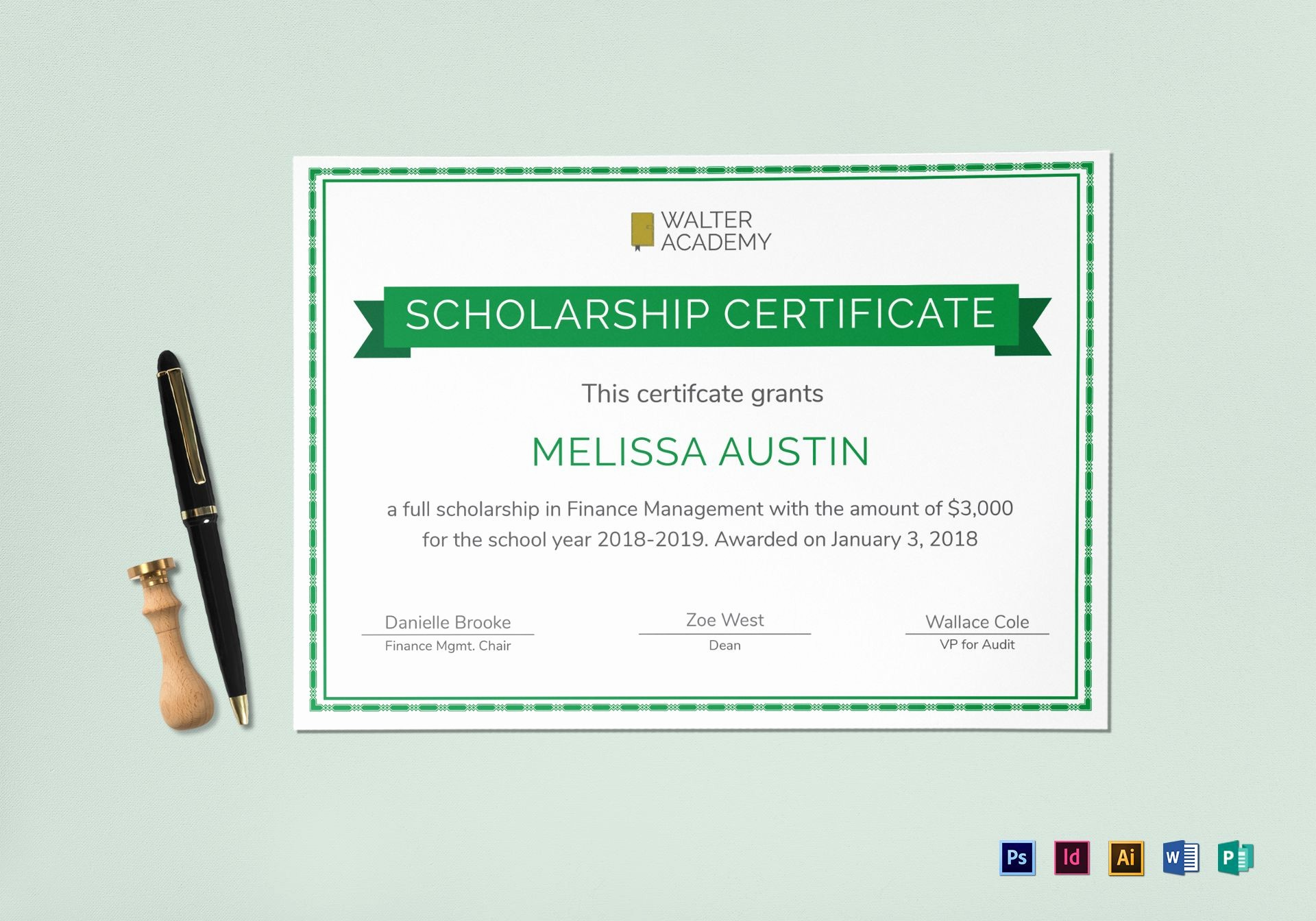 Microsoft Publisher Award Certificate Templates Inspirational Scholarship Certificate Design Template In Psd Word