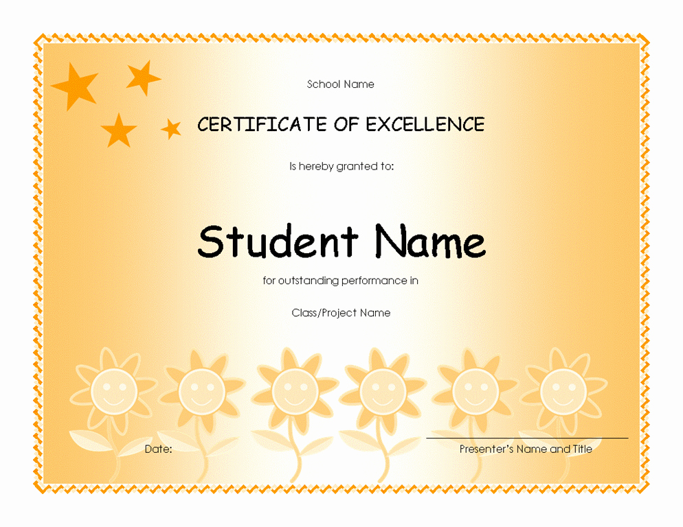 Microsoft Publisher Award Certificate Templates Luxury Student Excellence Award Elementary Free Certificate