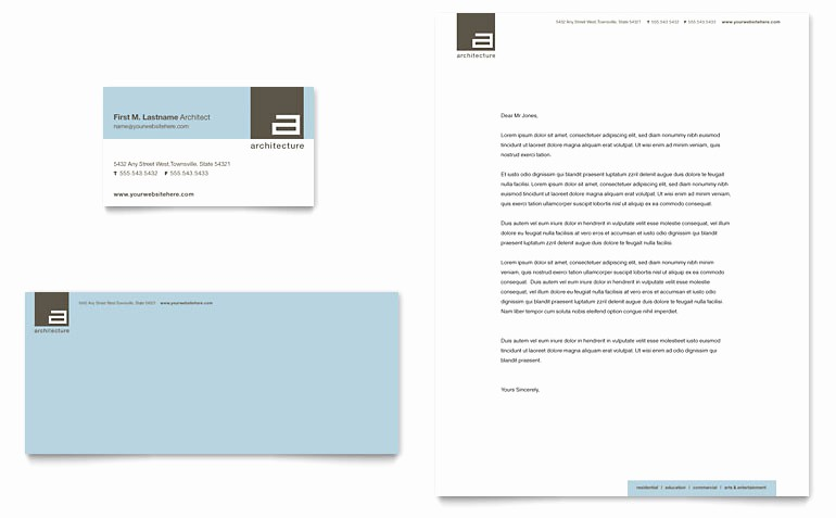 Microsoft Publisher Business Card Templates Beautiful Architect Business Card & Letterhead Template Word