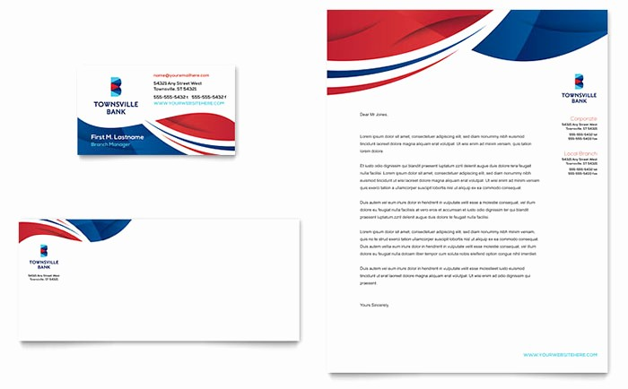 Microsoft Publisher Business Card Templates Elegant Bank Business Card & Letterhead Template Word & Publisher