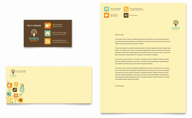 Microsoft Publisher Business Card Templates Elegant Business Services Business Card & Letterhead Template