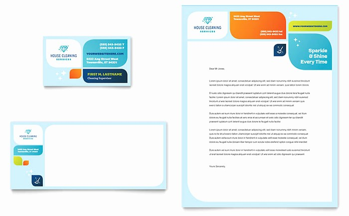 Microsoft Publisher Business Card Templates Unique Cleaning Services Business Card & Letterhead Template