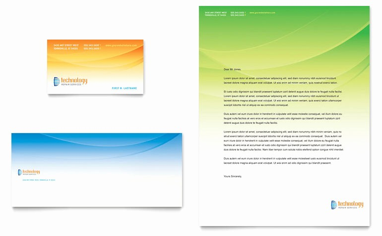 Microsoft Publisher Business Cards Templates Unique Puter & It Services Business Card & Letterhead Template