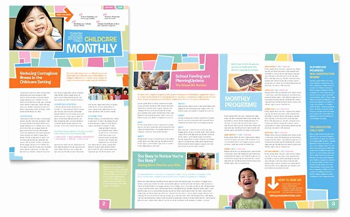 Microsoft Publisher Template Free Download Unique Preschool Kids & Day Care Newsletter Template Design
