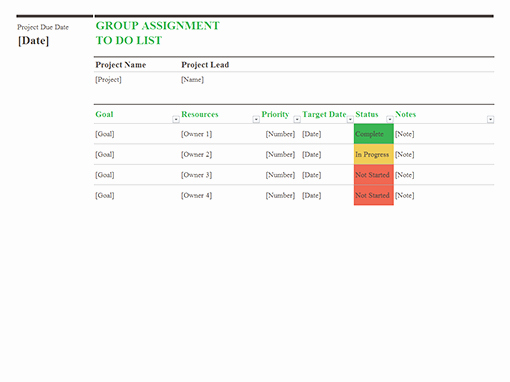 Microsoft to Do List Template Unique Group assignment to Do List Fice Templates