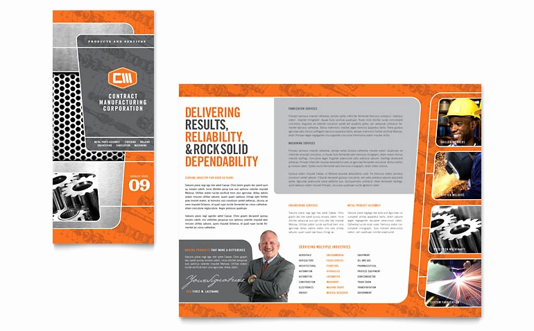 Microsoft Tri Fold Brochure Template Best Of Manufacturing Engineering Tri Fold Brochure Template