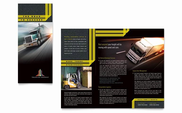 Microsoft Tri Fold Brochure Template Luxury Trucking & Transport Tri Fold Brochure Template Word