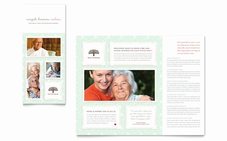 Microsoft Tri Fold Brochure Template Unique Senior Care Services Tri Fold Brochure Template Word