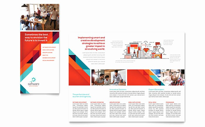 Microsoft Tri Fold Brochure Templates Beautiful Application software Developer Tri Fold Brochure Template