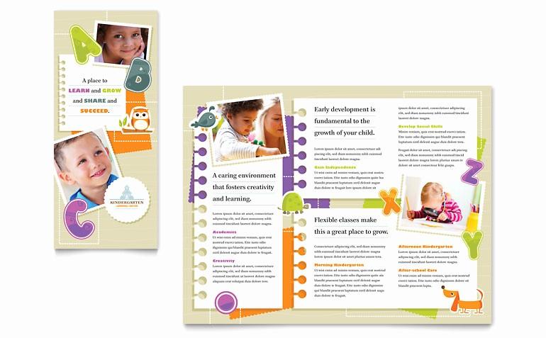 Microsoft Tri Fold Brochure Templates Beautiful Kindergarten Tri Fold Brochure Template Word & Publisher