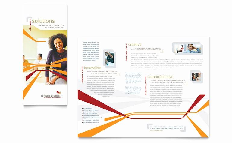 Microsoft Tri Fold Brochure Templates Best Of software Developer Tri Fold Brochure Template Word
