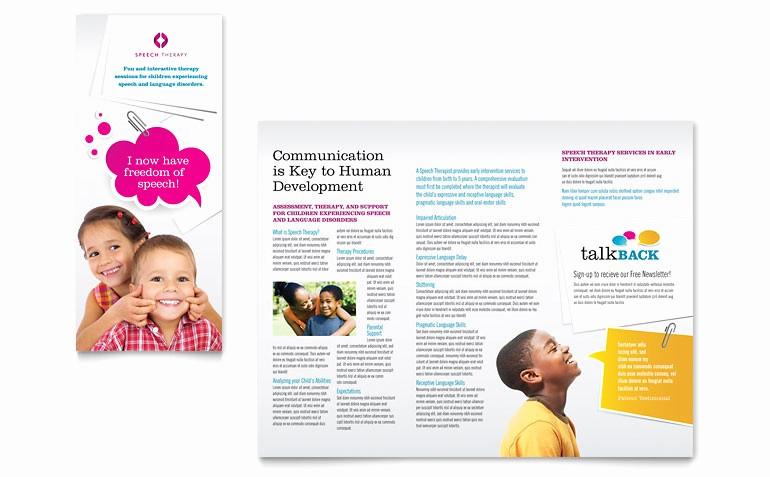 Microsoft Tri Fold Brochure Templates Elegant Speech therapy Education Tri Fold Brochure Template Word
