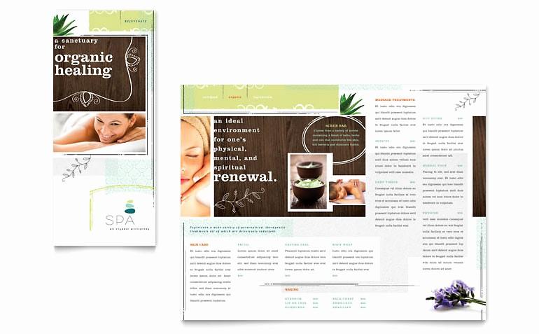 Microsoft Tri Fold Brochure Templates Luxury Day Spa Tri Fold Brochure Template Word & Publisher