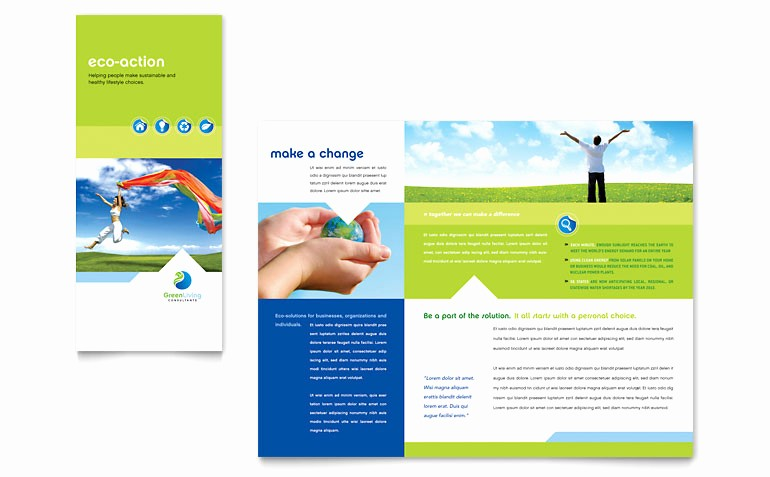 Microsoft Tri Fold Brochure Templates New Green Living & Recycling Tri Fold Brochure Template Word