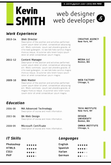 Microsoft Word 2007 Resume Templates Inspirational Trendy top 10 Creative Resume Templates for Word [ Fice]