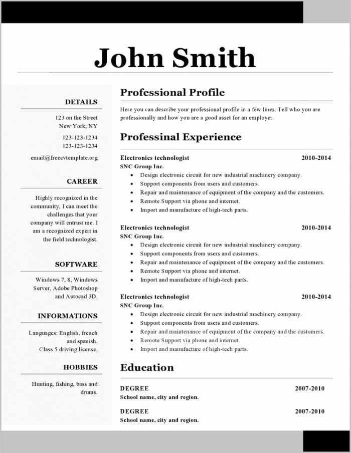 Microsoft Word 2007 Resume Templates Lovely Free Resume Templates Microsoft Word 2007 Mac