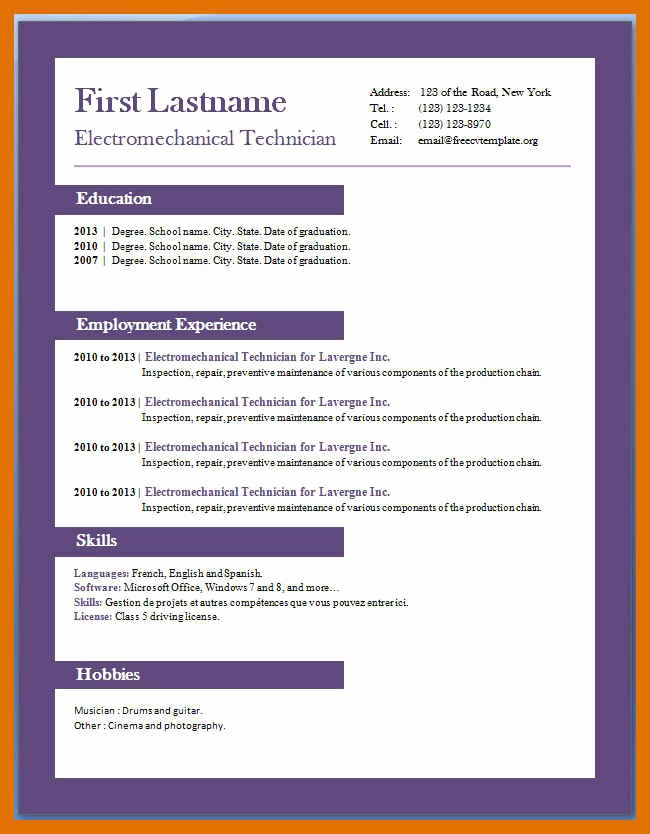 Microsoft Word 2010 Resume Templates Fresh 4 5 Professional Resume Template Word 2010