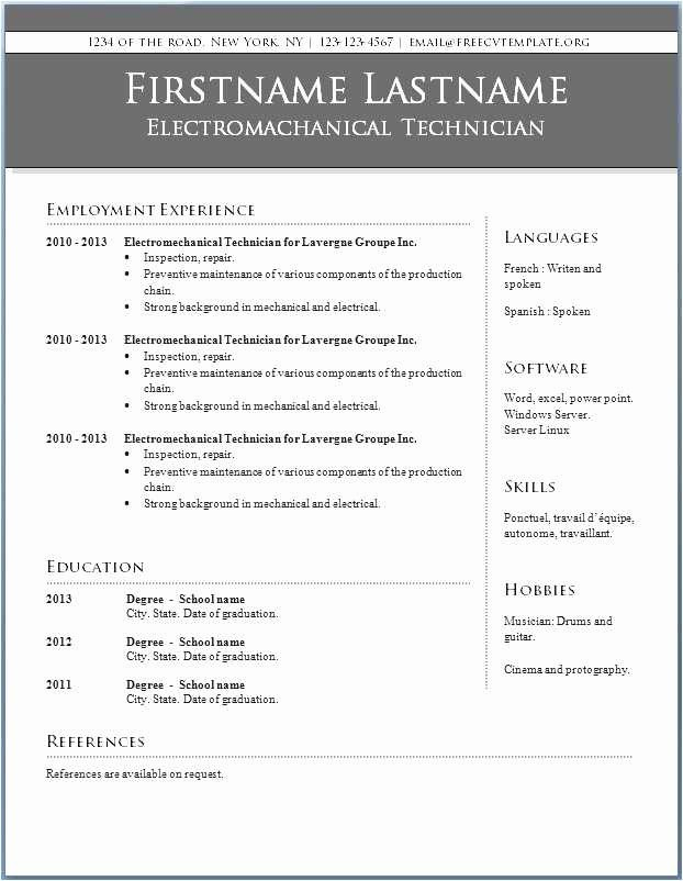 Microsoft Word 2010 Resume Templates Fresh Microsoft Word Resume Template 2010 Download