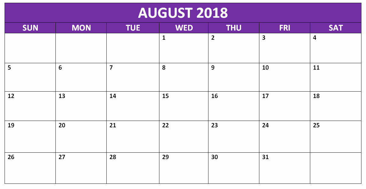 Microsoft Word 2018 Calendar Templates Best Of August 2018 Calendar Word Printable Template