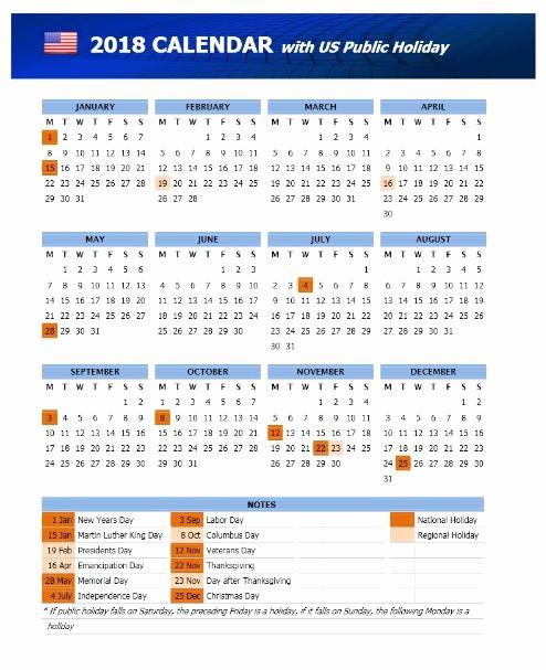 Microsoft Word 2018 Calendar Templates Elegant 2018 Calendar Template with Us Holidays