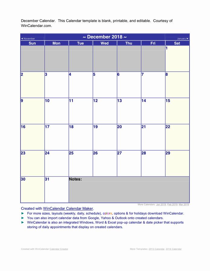 Microsoft Word 2018 Calendar Templates Elegant December 2018 Word Calendar In Word and Pdf formats