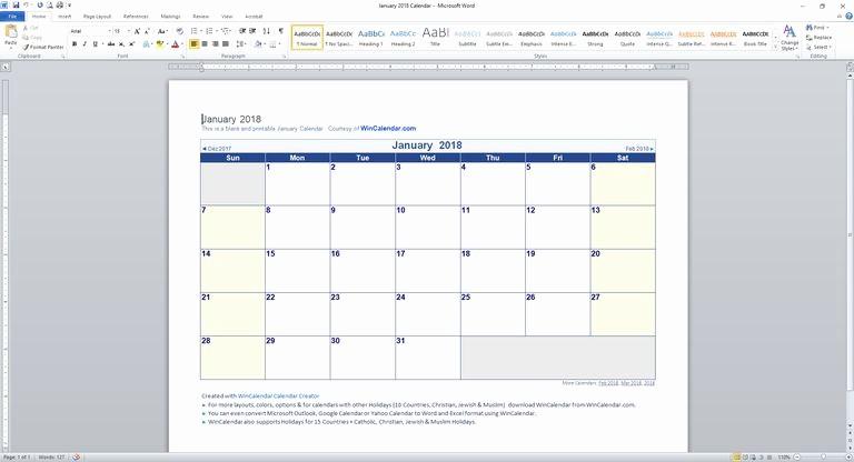 Microsoft Word 2018 Calendar Templates Elegant Microsoft Word Calendar Template 2018 Monthly 2018