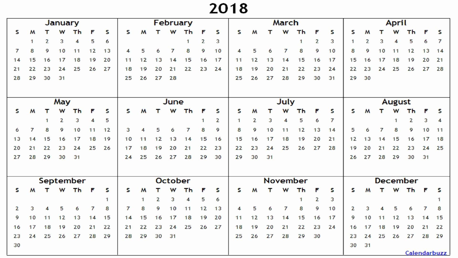 Microsoft Word 2018 Calendar Templates Fresh 2018 Yearly Calendar Printable Templates Word Excel